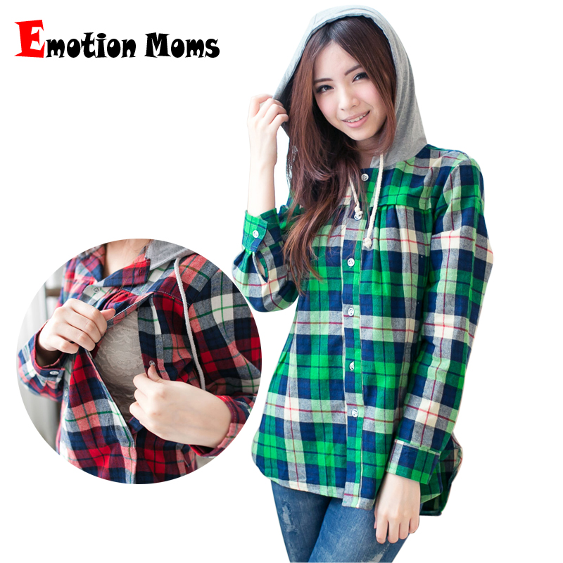 ③Emotion Moms Long Sleeve plaid shirt maternity clothes nursing top ...