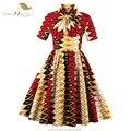 SISHION 50 s 60 s Vintage Dress Геометрические Печати Британский Стиль Женщины Весна Лето Платья S-4XL Плюс Размер Женской Одежды VD0418