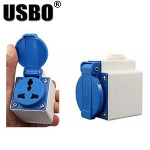 Image 5 - Blauw Wit Universele Ronde Cover Aarding Industrie Elektrische Ac Power Socket IP44 10A 250V Outdoor Stofdicht Waterdicht Socket