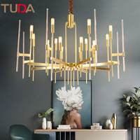 TUDA LED Chandelier Copper Chandelier Living Room Bedroom Restaurant Bird Light Crystal Chandelier E14 110V 220V