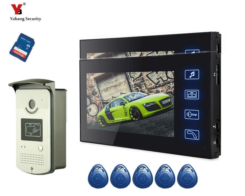 Yobang Security freeship 7Inch Color Record Screen Video Intercom Door Phone Kit + 5 pcs RFID Access Doorbell Camera+SD card