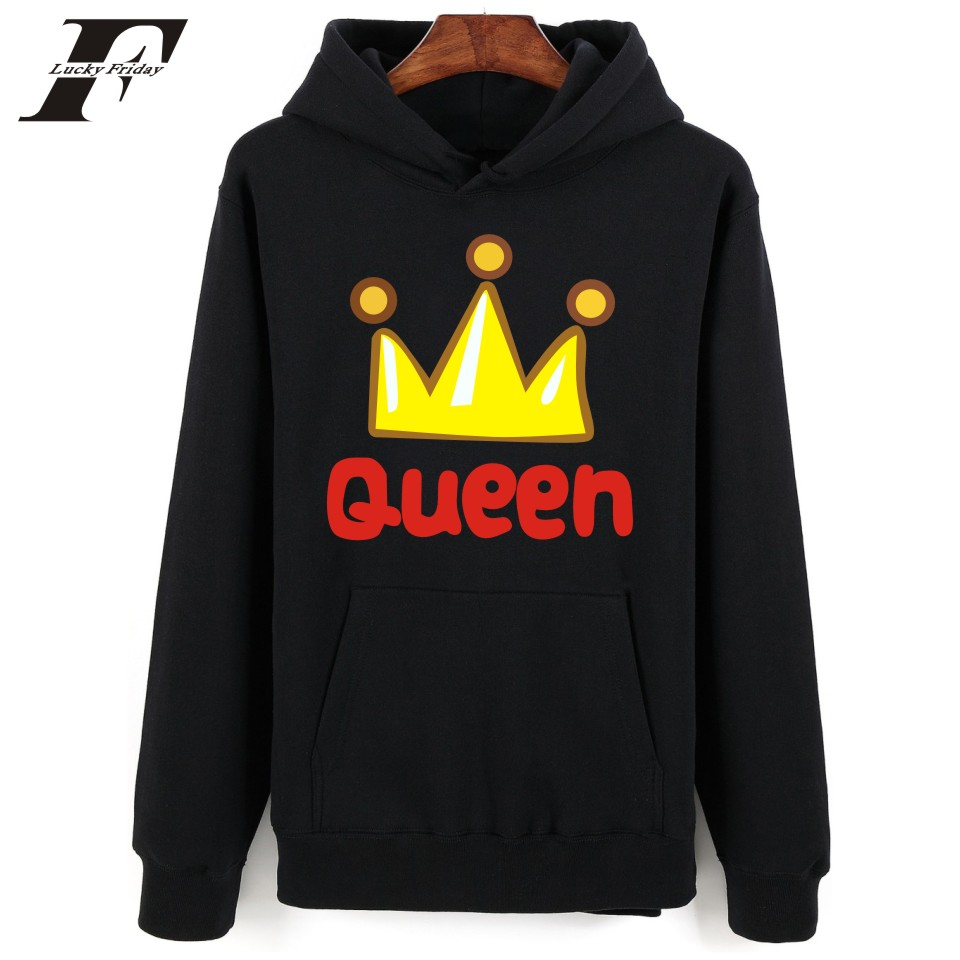 2017 printed Hoodie Sweatshirt tumblr men women King&queen moletom feminino Mens Hoodies And Sweatshirts Camouflage Couples