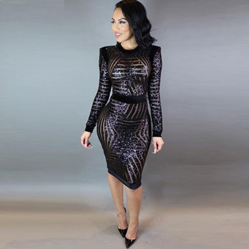 sexy moda feminina long sleeve sequin dress plus size women mesh ...