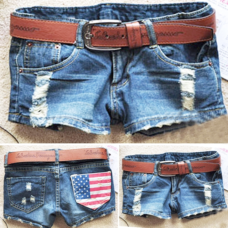 Hot sale 2016 summer new arrival womens fashion denim shorts holes America flag short jeans female girls without Belt SV003071