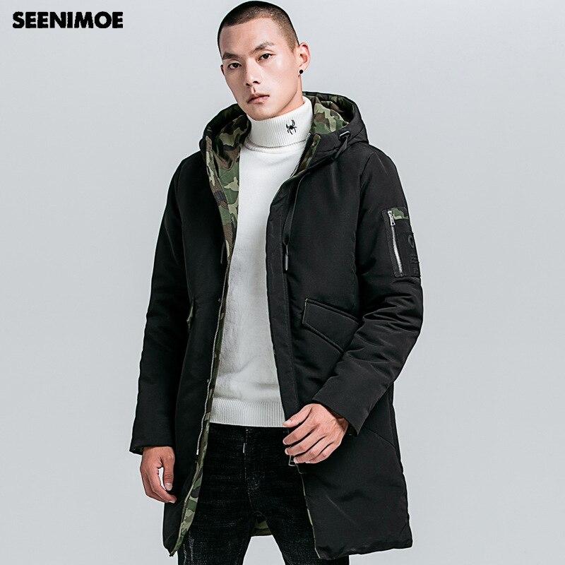 Seenimoe 2019 ใหม่ฤดูหนาว Parkas Man Hooded Windproof ฤดูหนาว Coat ฤดูหนาว Mens Thicken Plus ขนาด M 4XL ผู้ชายยาวเสื้อ-ใน เสื้อกันลม จาก เสื้อผ้าผู้ชาย บน   1