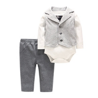 2019 New Baby Clothing Sets Newborn Infant Boy Clothes Three Piece Suit Outfits Spring Cotton Long Sleeve Infant Outfits Sets