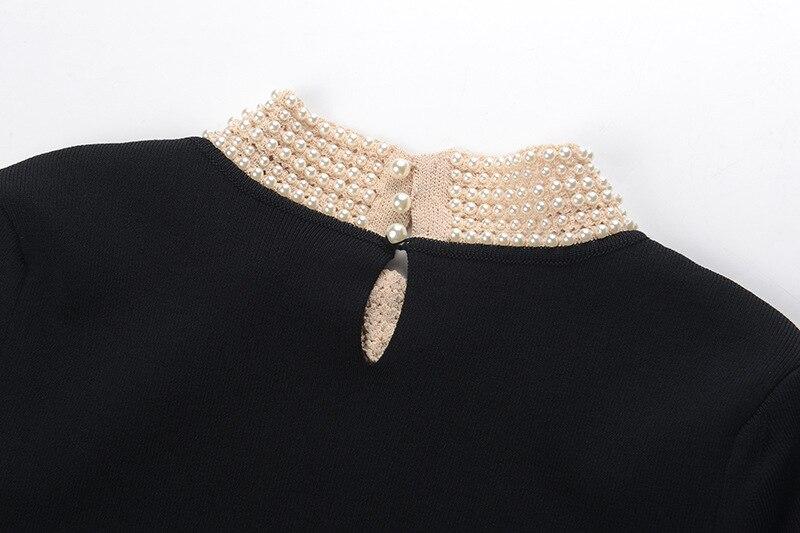 À 2018 Noël Perles Piste Élégant Vêtements Noir Dames Hiver Femmes De Robe Mini Manches Courtes ZUrqZHnzW