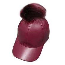 Women Men Unisex PU Leather Ball Suede Adjustable Baseball Cap Real Fur Poms Baseball Hats Hiphop Casual Snapback Winter Hats
