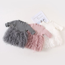MUQGEW Baby Kids Girls Clothes Knit Bow Tulle Princess Tutu Ball Gown