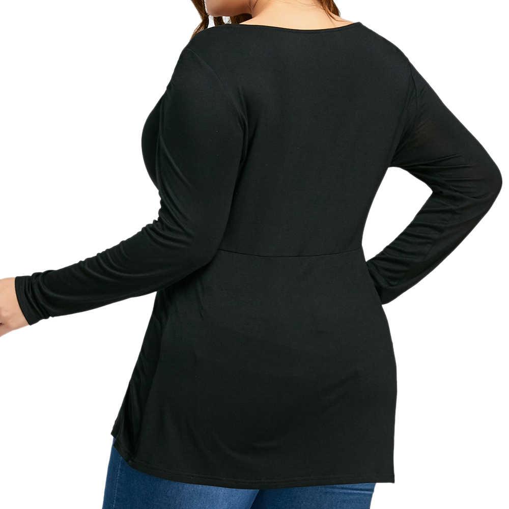 5bee8fb14c6b26 ... Wipalo Women Autumn Spring Sexy Crew Neck Long Sleeve Tops Tees Plus  Size XL-5XL ...