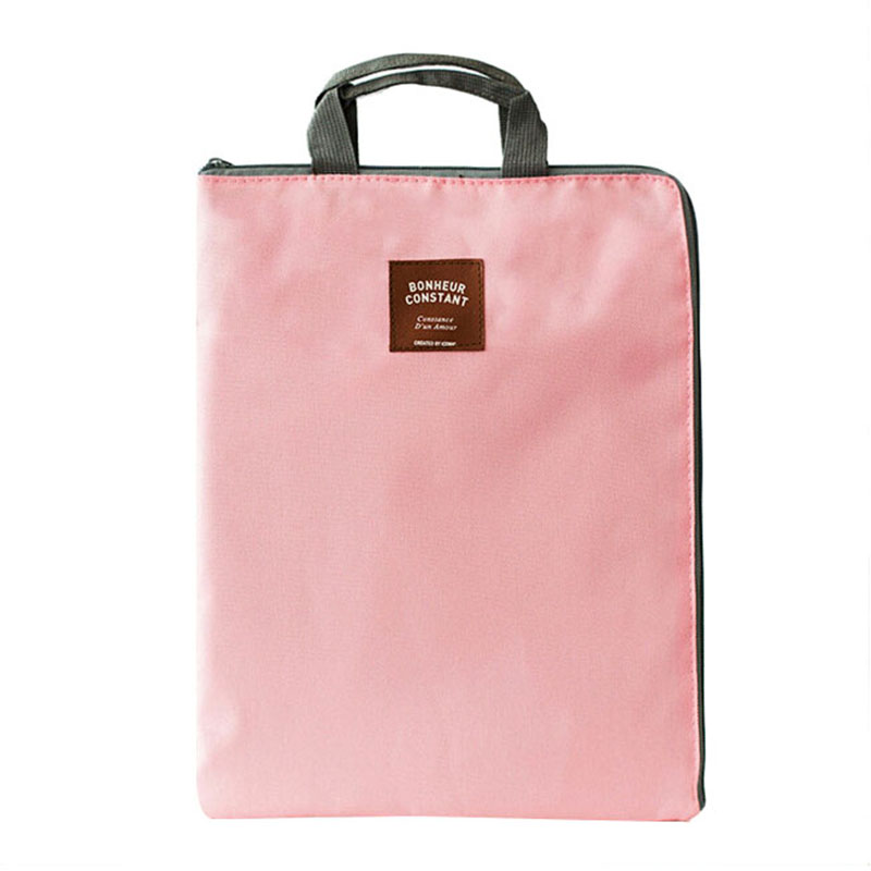 Simple Solid A4 Big Capacity Document Bag Business Briefcase Storage File Folder For Papers Stationery Student Gift Pink