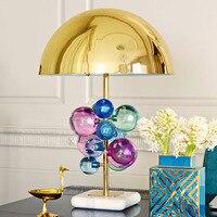 Современный красочный хрустальный шар настольные лампы гриб металлические абажур простой Спальня прикроватные Творческий декоративная н