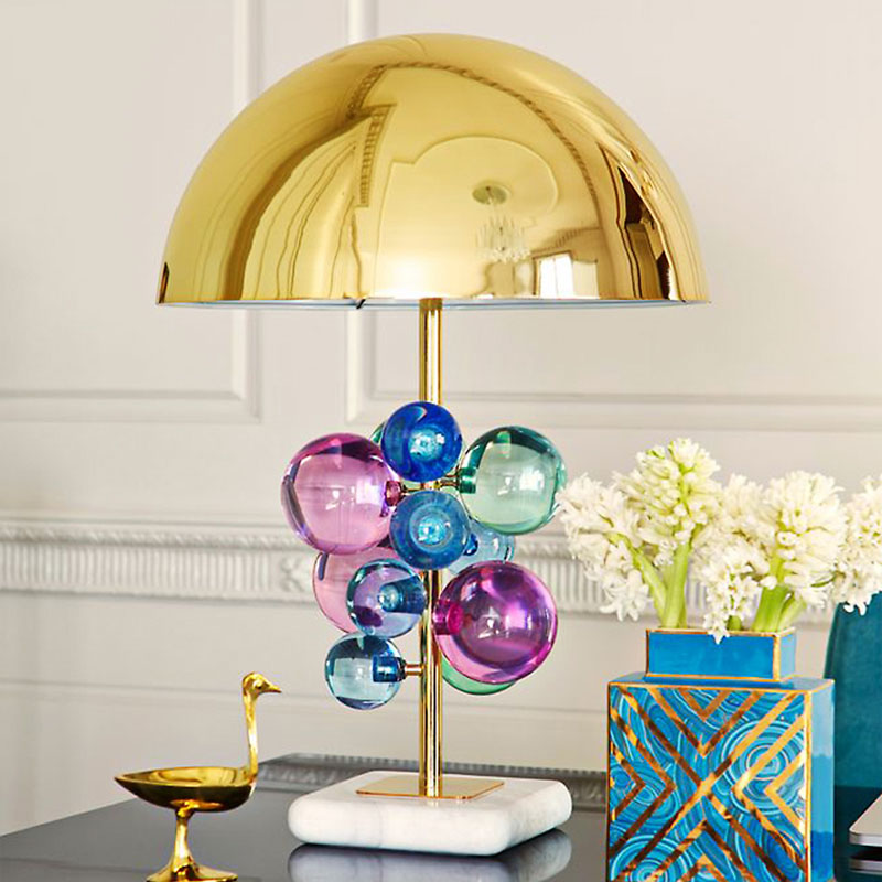 Modern Colorful Crystal Ball Desk Lamps Mushroom Metal Lampshade Simple Bedroom Bedside Creative Decorative Marble Table Lamp k9 crystal table lamp simple modern bedroom bedside desk lamps decorative display wedding hotel light fixture