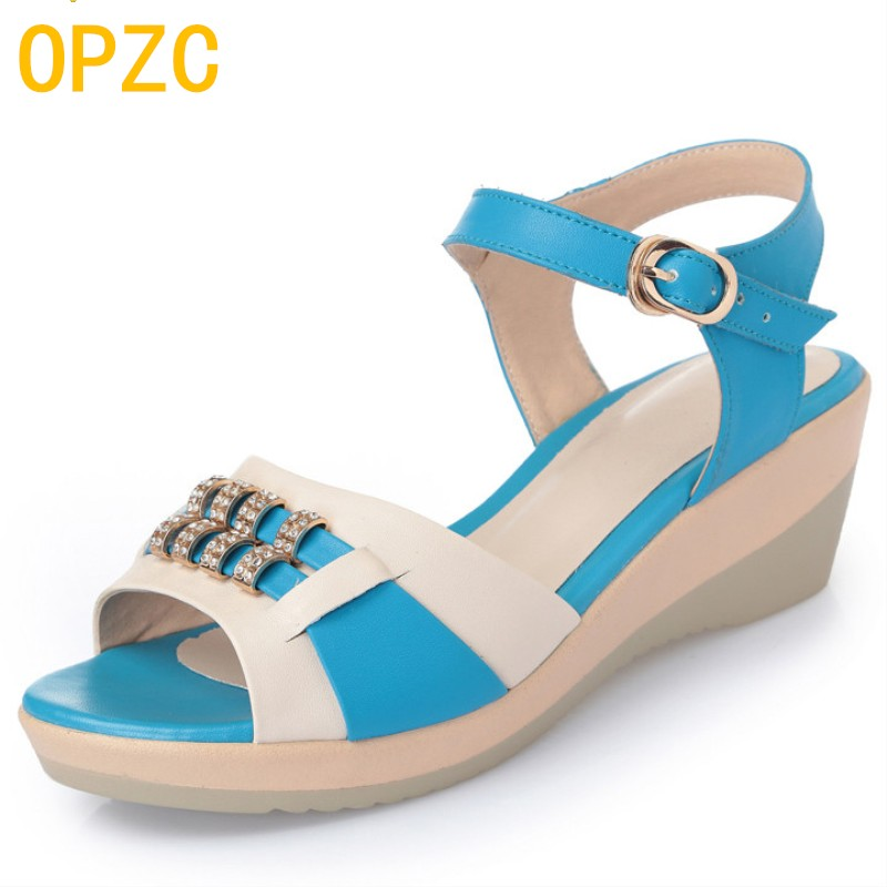 Women sandals 2017 summer genuine leather high-quality diamond muffled large size 35-43 # fish mouth mother sandals female aiyuqi2018 new genuine leather women summer sandals comfortable fish casual mouth plus size 41 42 43 mother sandals shoes female