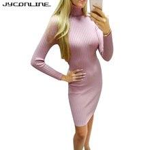 Jyconline Горячие водолазка с длинными рукавами женское платье Осень трикотажные Bodycon Фитнес платье vestidos тонкий эластичный Платья-свитеры Халат