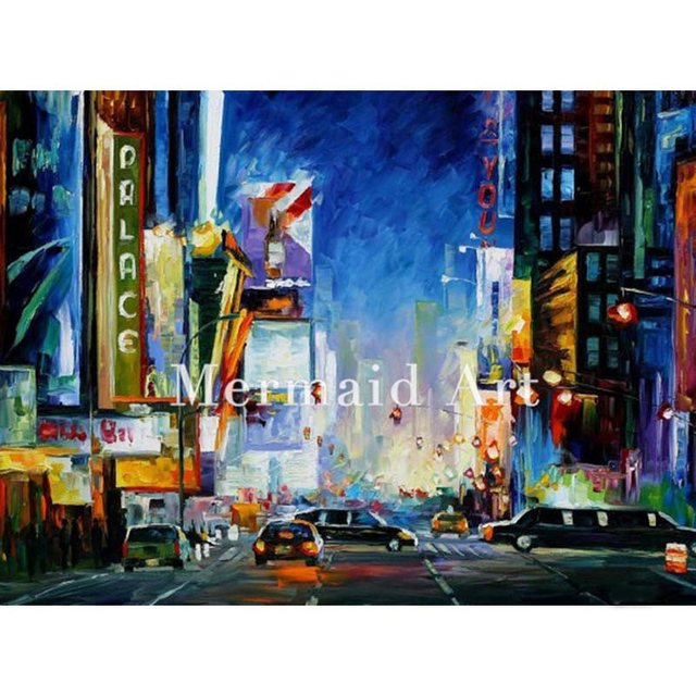 2ba2ecbee74535 Hand Painted Oil Painting Broadway New York On Canvas For Abstract Thick  Palette Knife Painting Living