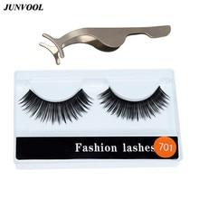 1 Pair Fashion False Eyelashes + 1 Stainless Steel False Eyelash Fake Eye Lash Tweezers Applicator Clip Makeup Tool Beauty недорого