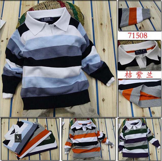 Bebé raya marca moda otoño primavera ropa niños diseñador v-cuello del partido del cabrito del suéter ocasional camiseta infantil