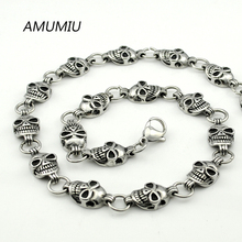 AMUMIU Christmas Gifts Skull Necklace Punk chain 316L Stainless Steel Casting Biker Chain Top Quality Heavy Cool Hip Hop HZP104