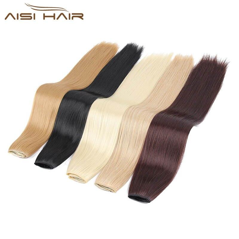 """Я в парик 24 """"16 Цвета шелковистые прямые высокое Температура Волокно химическое Зажим в синтетических выдвижениях волос для Для женщин"""