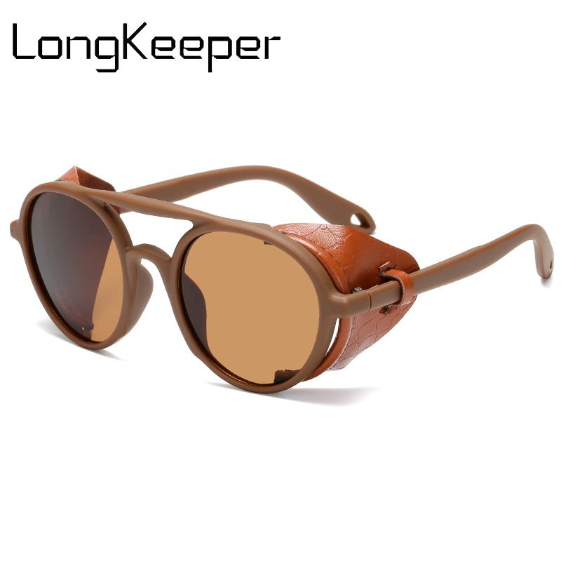 Vintage Steampunk Sunglasses Men Women Leather With Side Shields Style Round Sun Glasses Ladies Cool Glasses UV400 Gafas