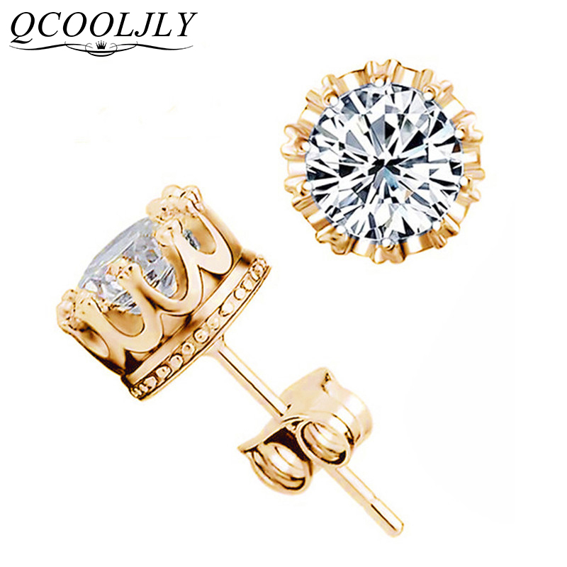 Qcooljly atacado moda coroa de ouro cor brincos feminino brincos de prata cz cristal jewerly duplo parafuso prisioneiro earing