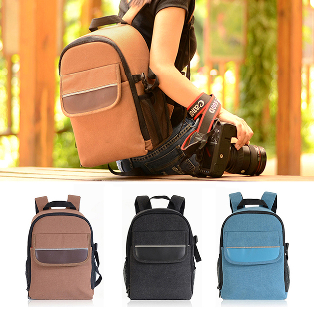 Roadfisher Light Weight Canvas Men Women DSLR Digital SLR Camera Backpack  Travel Rucksack Bag Insert Case