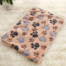 Pet Mat Dog Blanket For Small Puppy Coral Fleece Kitten Paw Print Cat Mats Bed Cover Warm Pink XS Brown