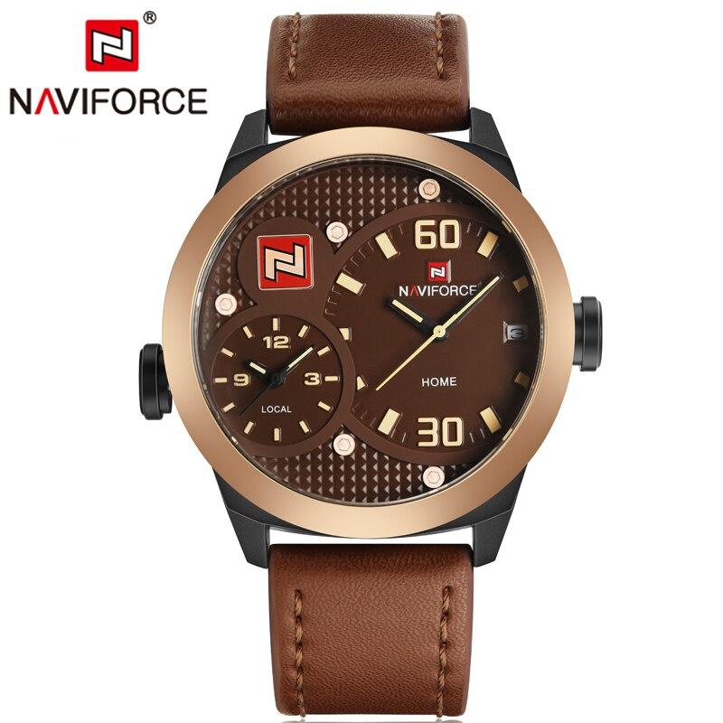 NAVIFORCE Luxury Brand Military Watches Men Quartz Watch Leather Clock Man Sports Army Watch Dual Time Zone Relogios Masculino