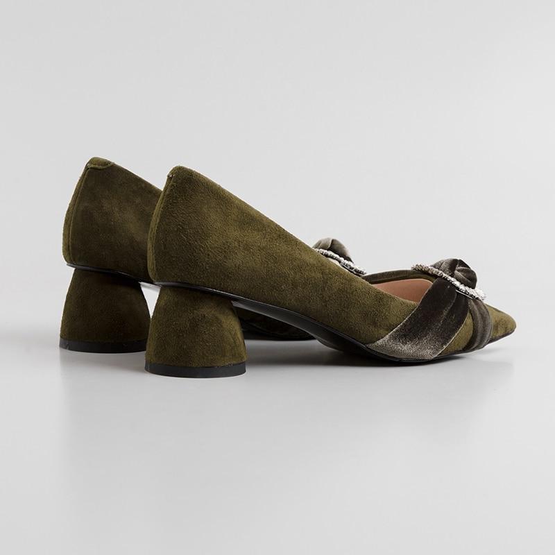 Negro Cristal Oficina Mujer Primavera Nuevas Mnixuan Militar La Ovejas Gran 2019 Moda Bombas Tacón Tamaño Alto Sexy Zapatos Grueso verde De Zapato Punta aIRwq6I