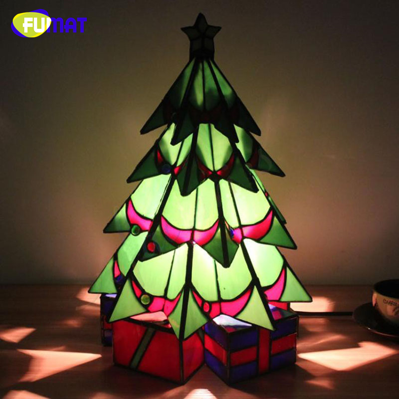 FUMAT Tifffany Christmas Trees Stained Glass Lights 2