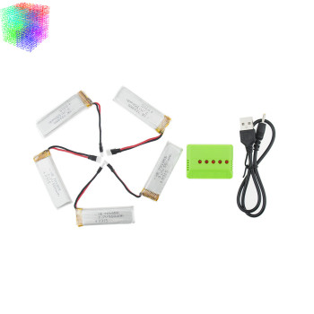 5pcs 3.7v 550mah Q282G JJRC H37 Lipo Battery With Charger For Eachine E50 Wltoys V977 V930 V988 XK K110 RC Spare Part Wholesales