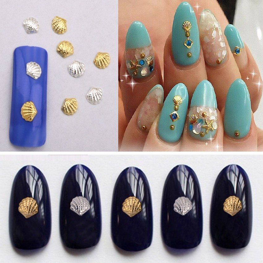 50pcs 3D Gold Silver Metal Nail Art Decoration Accessories Nail ...
