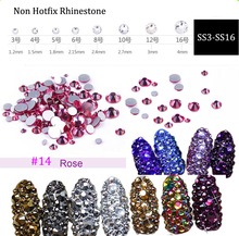Rose Glass Rhinestones ss3 ss4 ss5 ss6 ss10 ss12 ss16 1440 pcs Non HotFix 3D Nail Art Decorations Flatback Rhineston (No.14) стразы для одежды blingworld rhinestones 1440 4 ss16