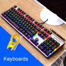 Keyboards Backlight Game Computer Desktop Home Luminous Machine Touch Notebook External USB Wired Keyboard 104 keys green axis,