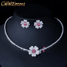 CWWZircons CZ Crystal Red Rose Flower Women Choker Necklace and Earrings Bridal Jewelry Set for Wedding Dress Accessories T211
