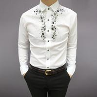 2019 новые брендовые модные повседневные мужские рубашки Бизнес Slim Fit черный и белый комплект шнека рубашка для мужчин для певицы для сцены му