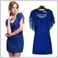 Free Shipping The New Dress 2014 Drill Collar Beading Dress Waist Short Sleeve Dress Shawl Lotus