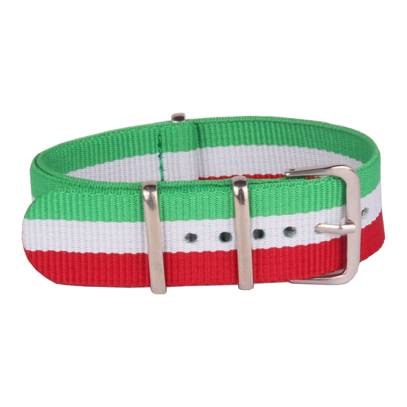 купить buy 2 get 25% off) 22mm Nato Nylon Watch Green_White_Red Stripes Army Military fabric Woven watchbands Strap Band Buckle belt по цене 269.58 рублей