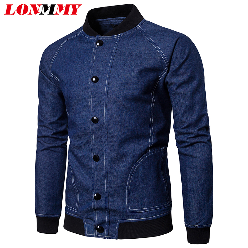 LONMMY Jeans jackets mens coats Mens Clothing Denim jacket men Outerwear streetwear Slim Casual jaqueta masculina blue black