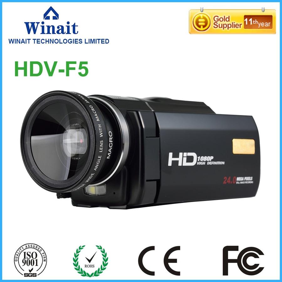 High quality 24mp 1080p digital video camera HDV-F5 built-speaker DIS USB2.0/TV output 3.0 touch LCD display HDV mini camcorder