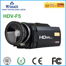 High quality 24mp 1080p digital video camera HDV-F5 built-speaker DIS USB2.0/TV output 3.0″ touch LCD display HDV mini camcorder