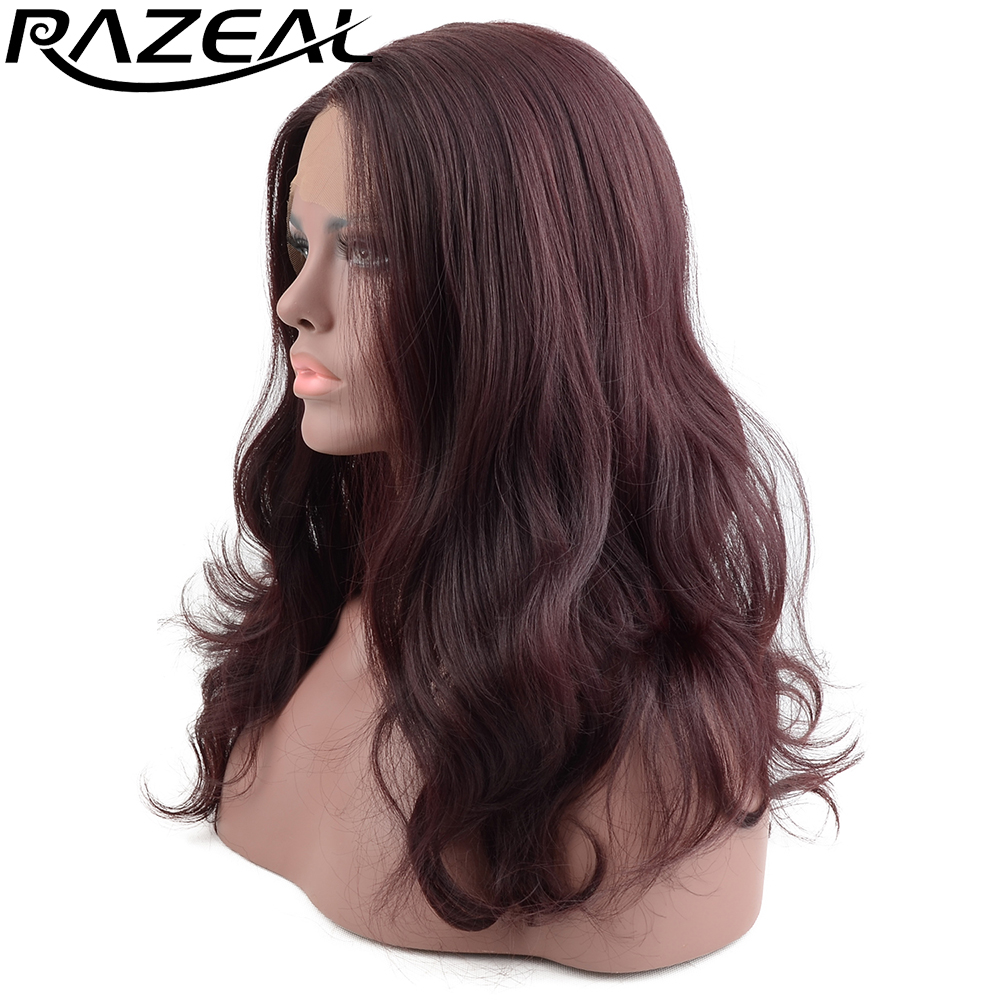 Razeal Wine Red Synthetic Lace Front Wigs With Natural Hairline Burgundy Synthetic Wigs Full Female Party Wigs L Part