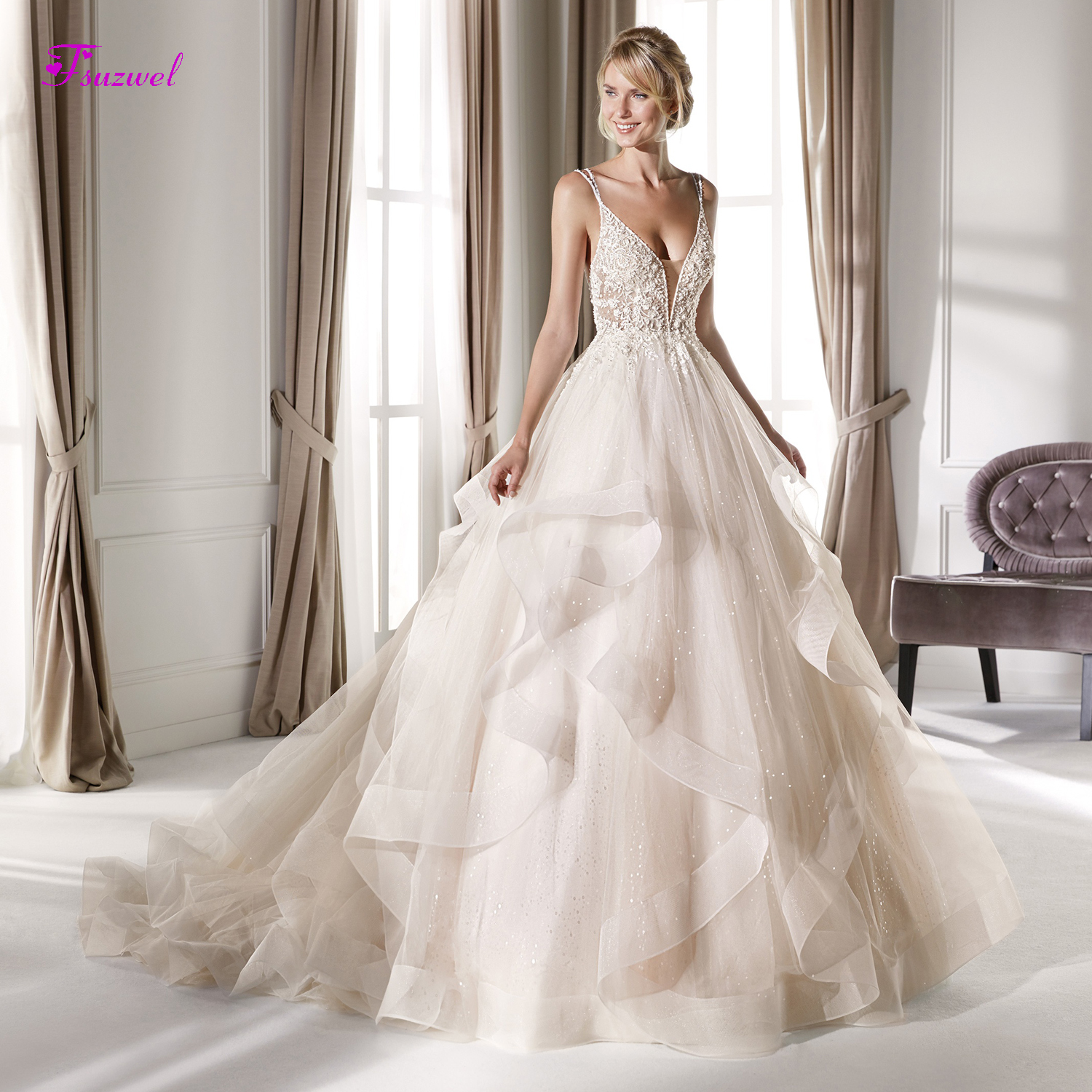 Fsuzwel Sexy Sweetheart Neck Backless A-Line Wedding Dresses 2019 Luxury Spaghetti Straps Beaded Appliques Bridal Gown Plus Size