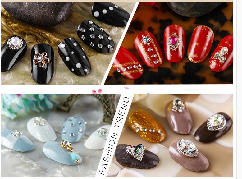 10pcs lot MIXED Alloy Crystal Nail Rhinestones Flat Back Non Hotfix Glitter Nail Stones DIY 3D Nail Phones Body Decorations in Rhinestones Decorations from Beauty Health