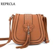 Reprcla роскошный цветок кисточкой Для женщин сумки дизайнер Сумки заклепки Курьерские сумки Высокое качество искусственная кожа Crossbody Сумка
