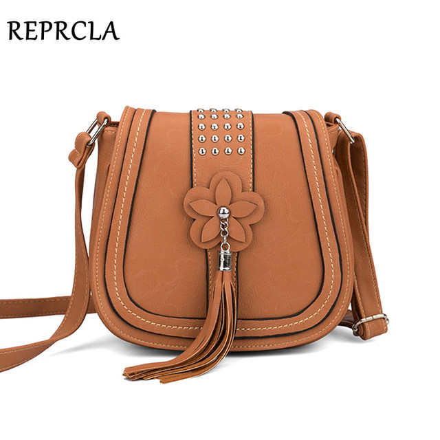 e0eb6acf09 REPRCLA Luxury Flower Tassel Women Bags Designer Handbags Rivet Messenger  Bags High Quality PU Leather Crossbody