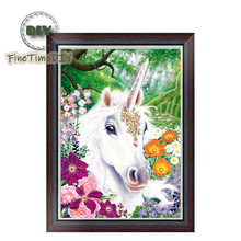 FineTime Unicorn Horse 5D DIY Diamond Painting Partial Drill Diamond Embroidery Cross Stitch Animals Mosaic Painting finetime lucky fish 5d diy diamond painting partial drill diamond embroidery cross stitch animals mosaic painting