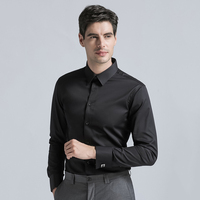 Brand New Men's Dress Shirt Men's Cotton Regular Fit Cufflink Shirts Fashion Solid Color Long Sleeve Men Business Suits Shirts