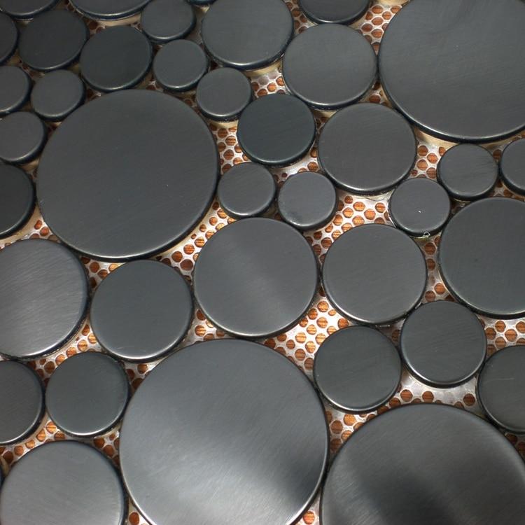Verschiedene größe runde form schwarzen ziehbank edelstahl metall mosaik  fliesen für küche backsplash badezimmer wand boden 80deeeebcb